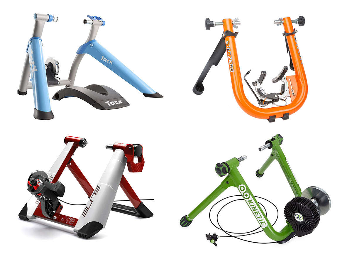 different types of wheel-on cycling turbo trainers